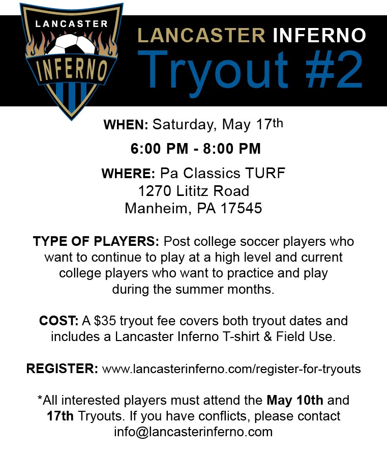 Tryouts Lancaster Inferno WPSL Women's Premier Soccer League Lancaster PA